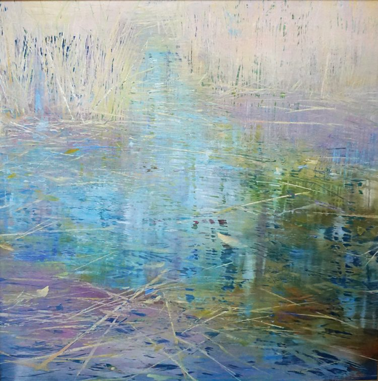 Sunlight, Water and reeds (2015) Oil on anodized aluminum, 48x48