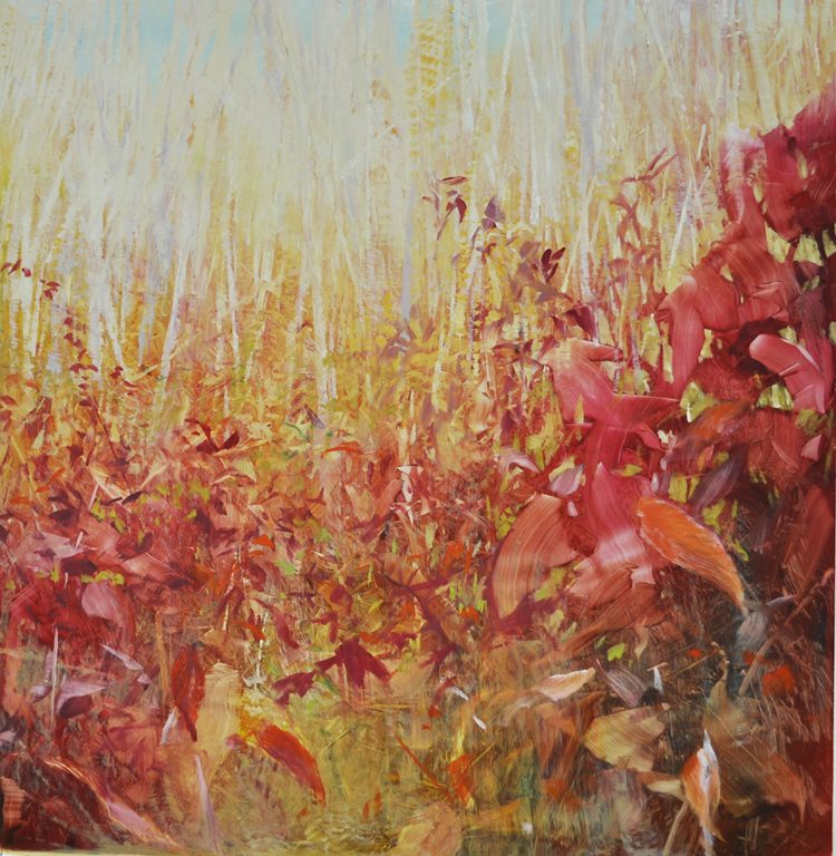 Meadow, November Fields Oil on anodized aluminum,18x18 2015