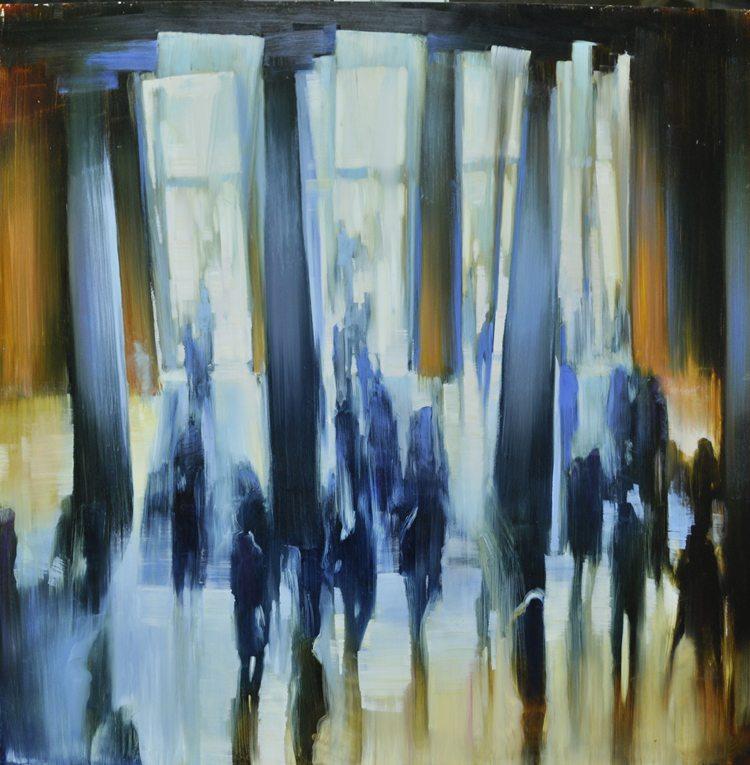 Met Museum, Columns of Light III (2015) Oil on anodized aluminum, 36x36