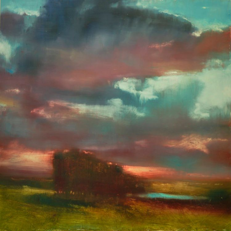 Red Sky (2013) Oil on Aluminum, 36 x 36  SOLD