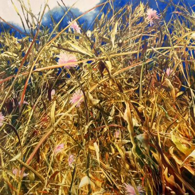 Wild Meadow in Cloisonne Oil on anodized aluminum,36x36
