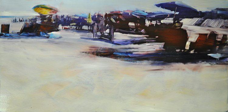 Beach Life,Sun and Shade (2016) Oil on anodized aluminum, 24x48