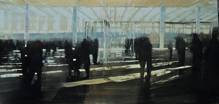 NYC, Whitney Foyer (2017) Oil on anodized aluminum, 24x48