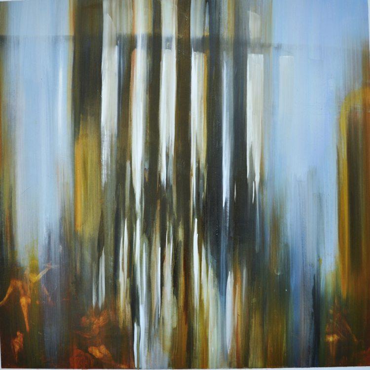 Met Museum, Attenuated Columns (2015) Oil on anodized aluminum, image area 28x28, perimeter with border 36x36