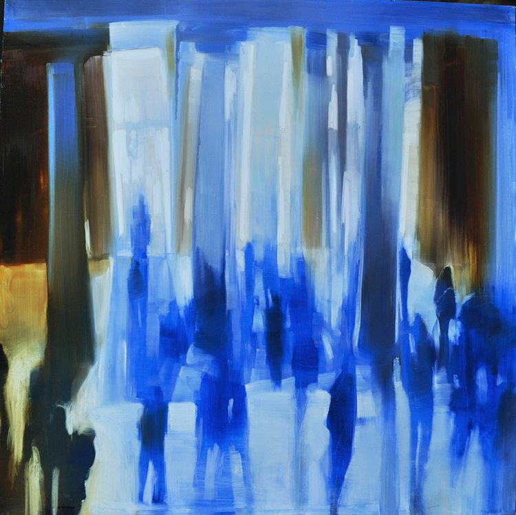 Met Museum, Columns of Light IV (2015) Oil on anodized aluminum, 36x36