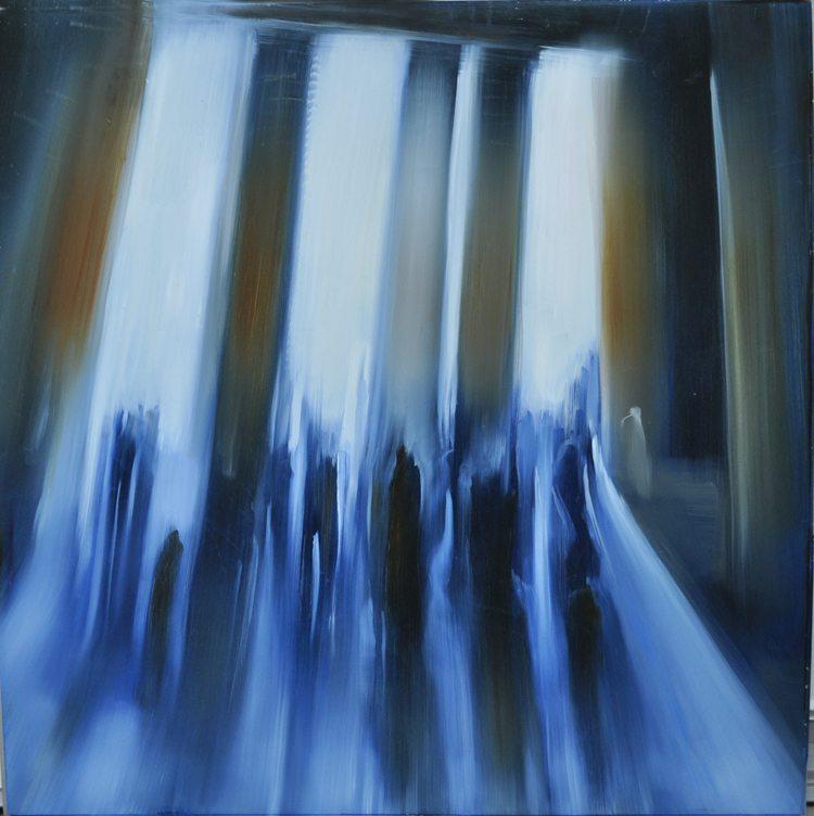 Met Museum, Columns of Light II (2015) Oil on aluminum, 36x36