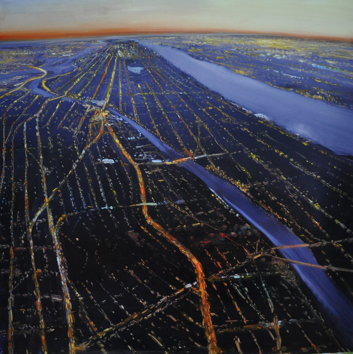 NYC, From The Bronx to The Battery (2016) Oil on anodized aluminum, 36 x 36 SOLD