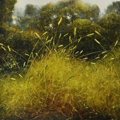 Dancing Grass Oil on laminated aluminum, 24x24