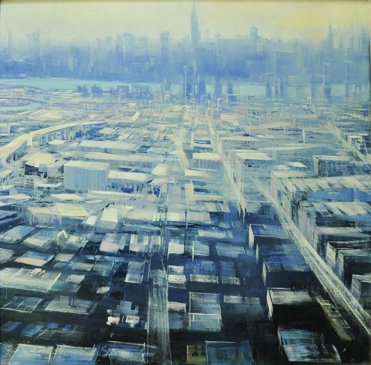 Manhattan Rhapsody, Oil on laminated aluminum, 36x36