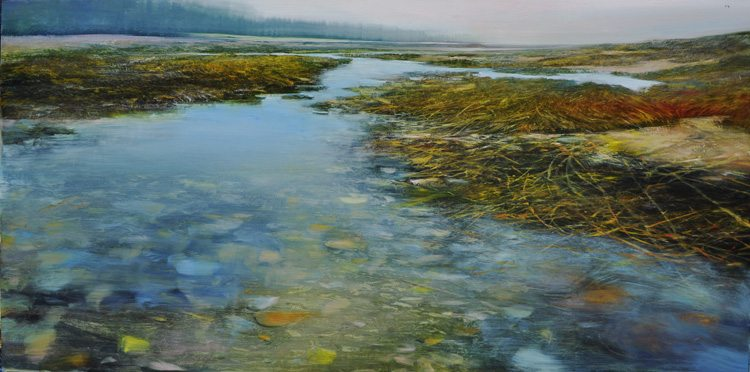 Shorelines, Low Tide in Fog, Oil on brushed silver laminated aluminum, 24x48