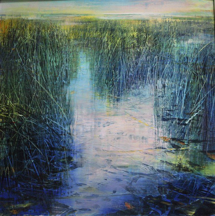 Tidepools among Sea Grass, Oil on laminated aluminum, 36x36