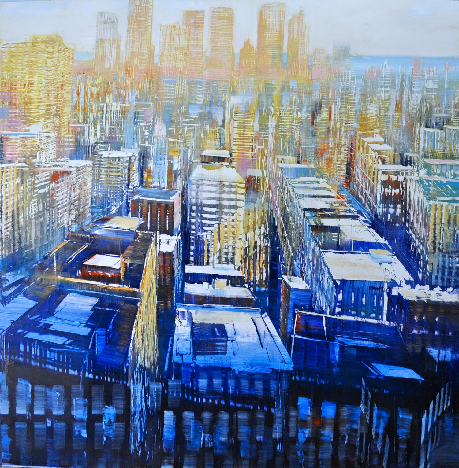 NYC - West Side Horizon Oil on enameled laminated aluminum 48x48