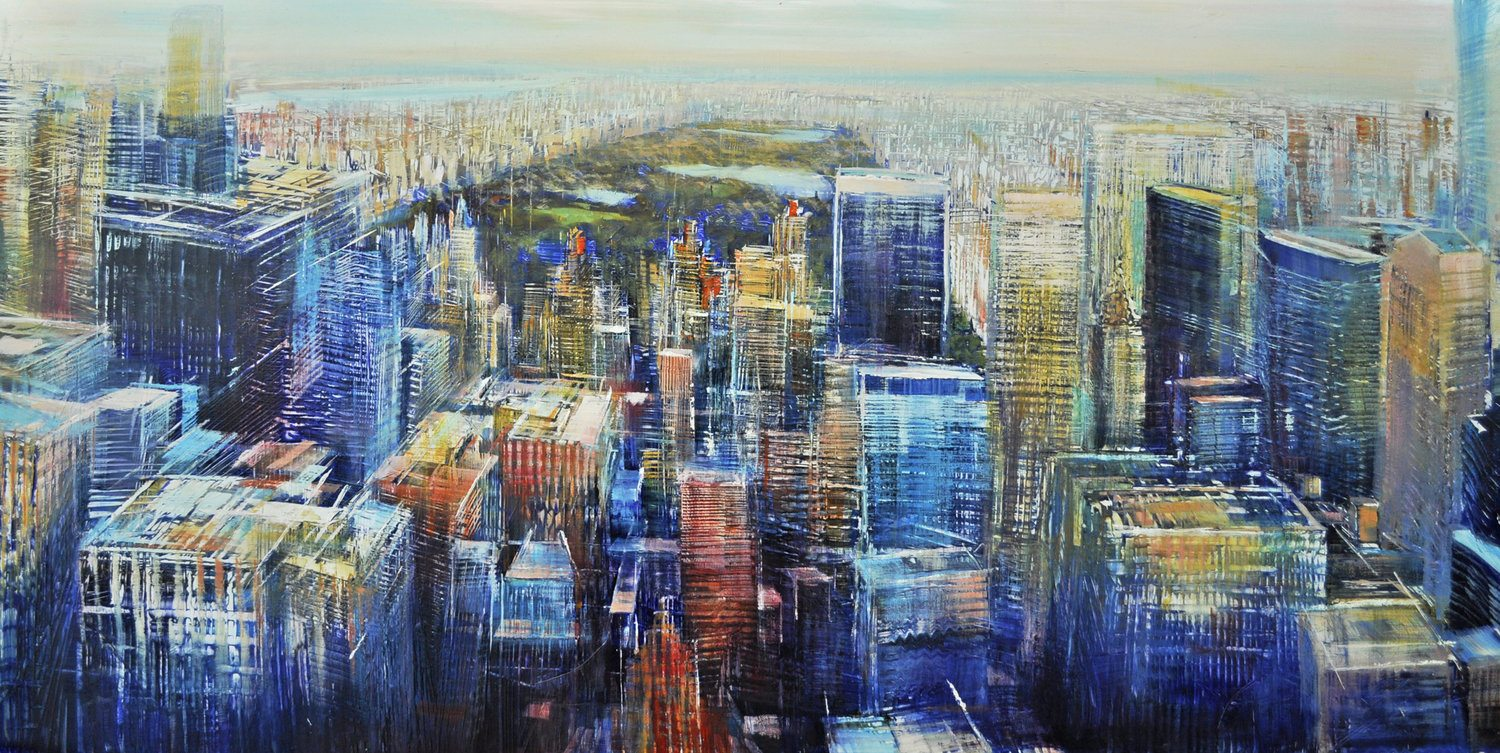 Aerial, Manhatttan toward Central Park Oil on enameled laminated aluminum, 24x48