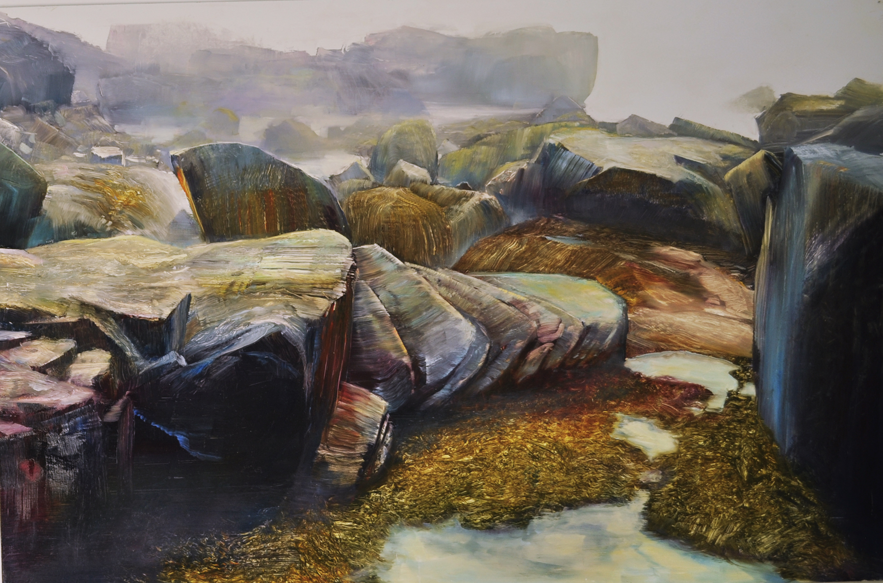 Acadian Shoreline, oil on enameled laminated aluminum, 24x36