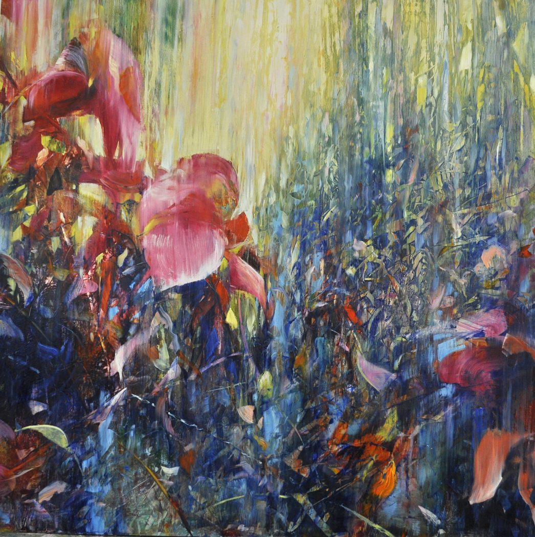 Forest Flowers, oil on enameled laminated aluminum, 36x36""