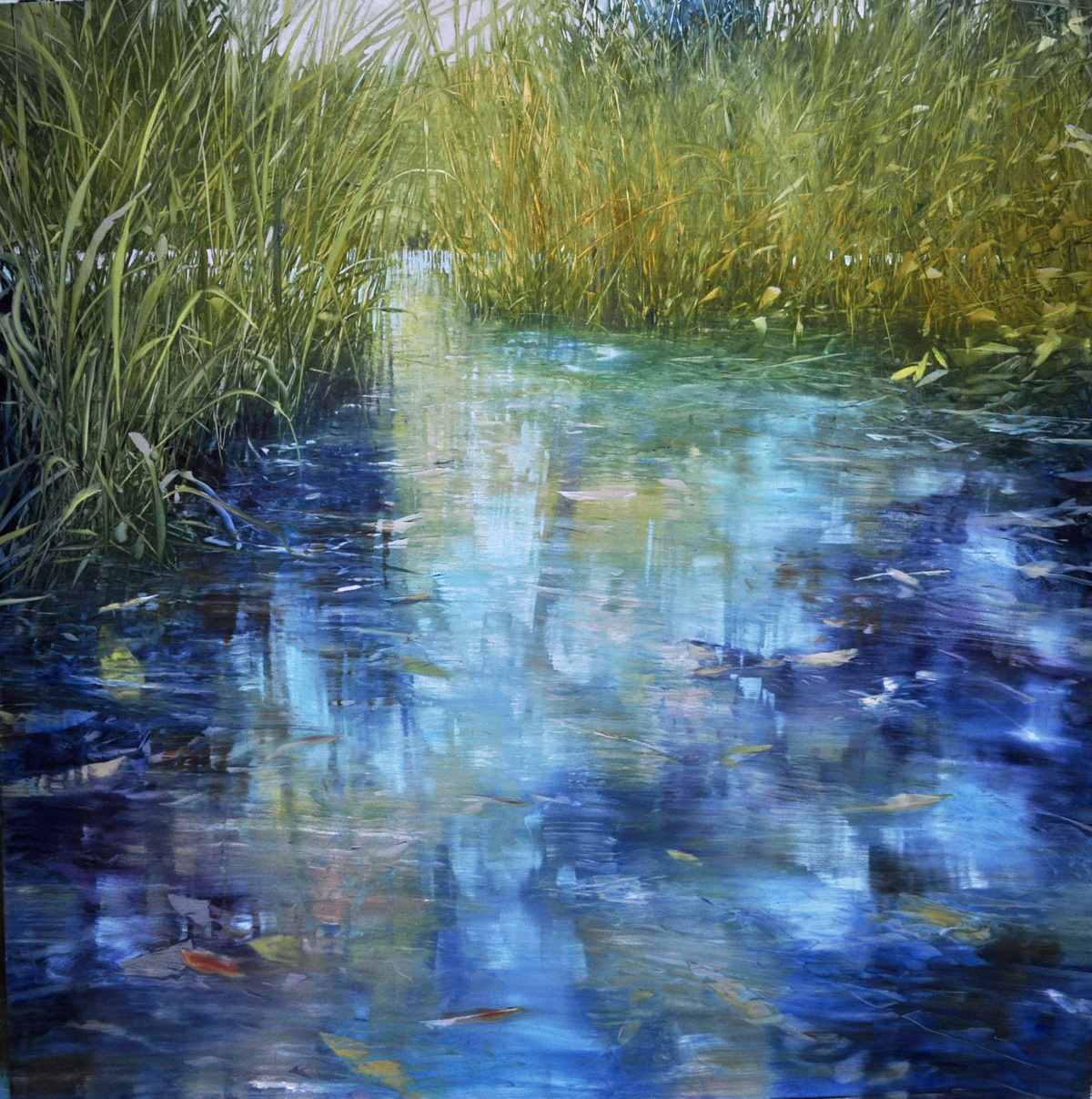 Intimate Pond, oil on brushed silver laminated aluminum, 48x48""