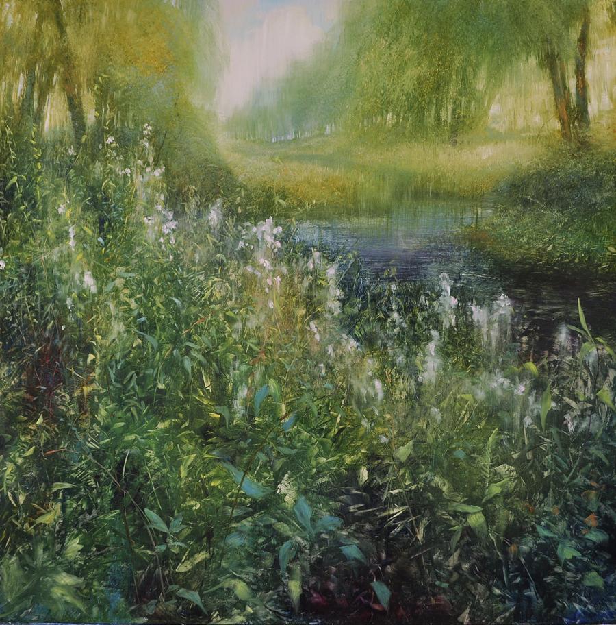 """Summer Brush with Romance, oil on brushed silver enameled laminated aluminum,48x48"""""""